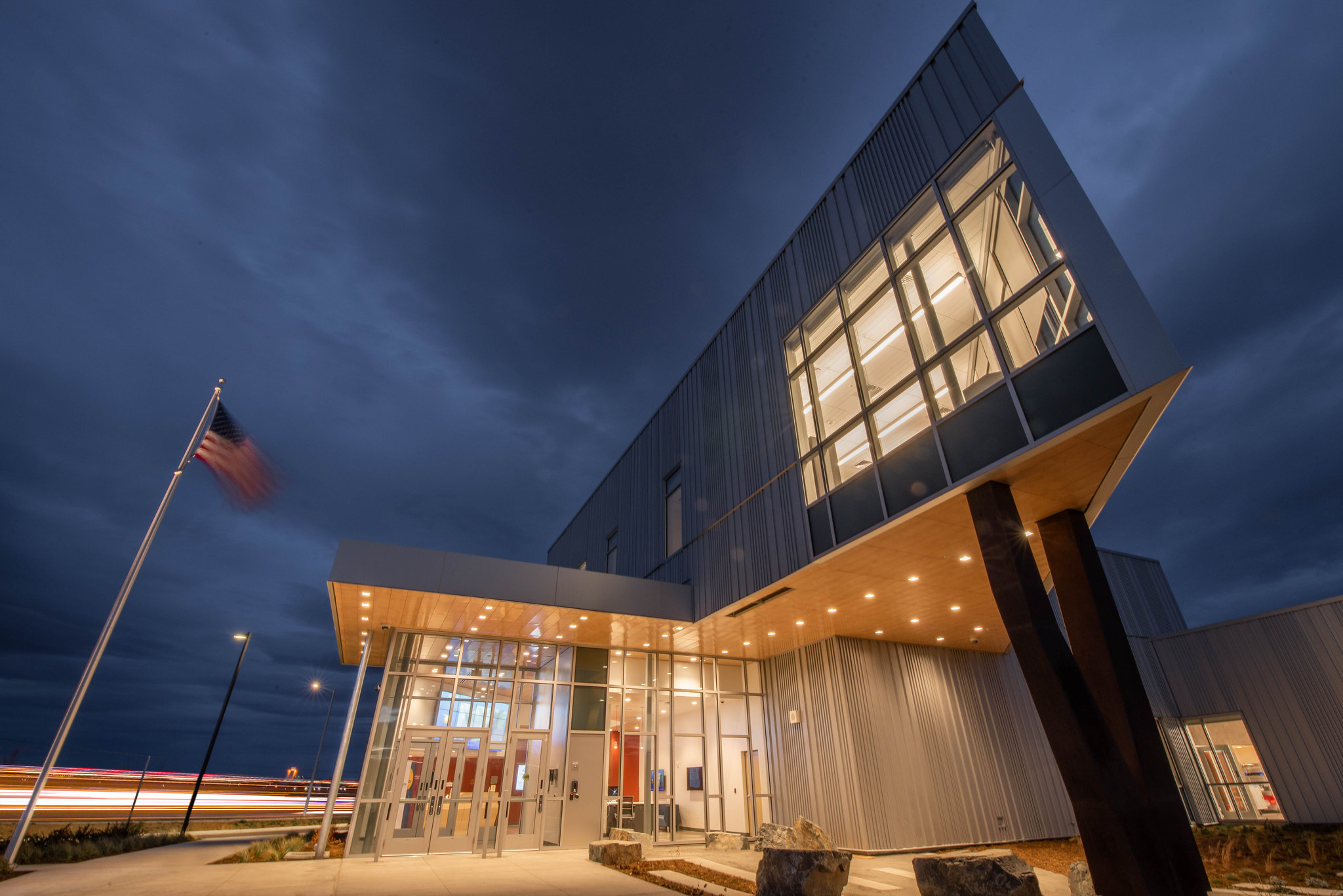 nighttime photo of Innovation Center Building