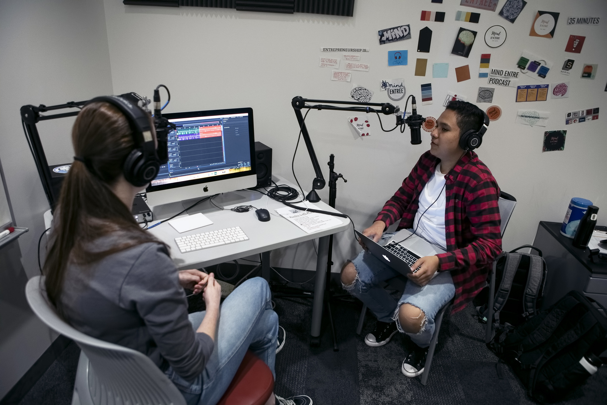 students in the podcasting studio